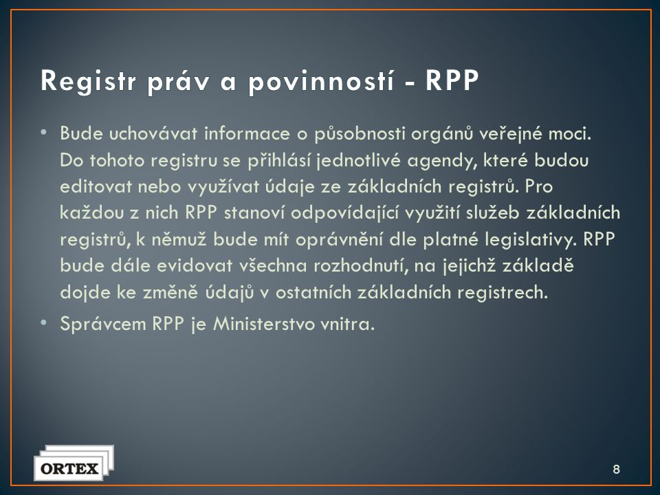Registr práv a povinností - RPP