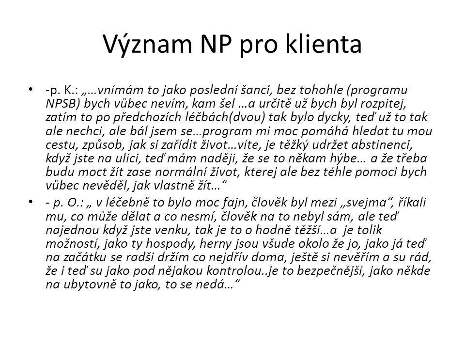 Význam NP pro klienta