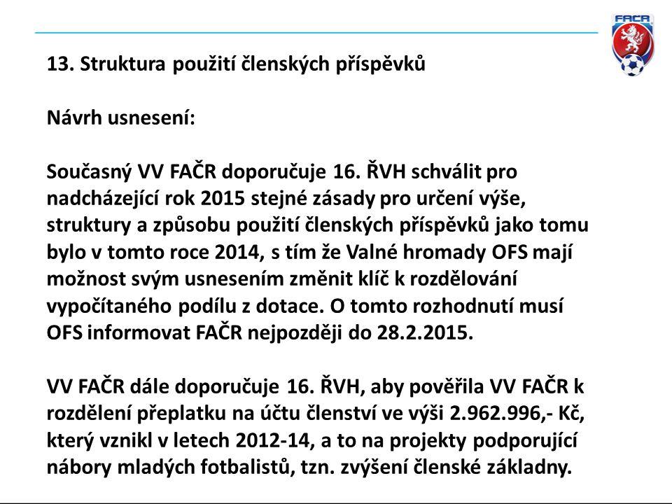 13. Struktura použití členských příspěvků Návrh usnesení: Současný VV FAČR doporučuje 16.