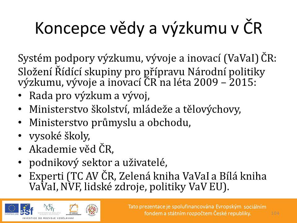 Koncepce vědy a výzkumu v ČR