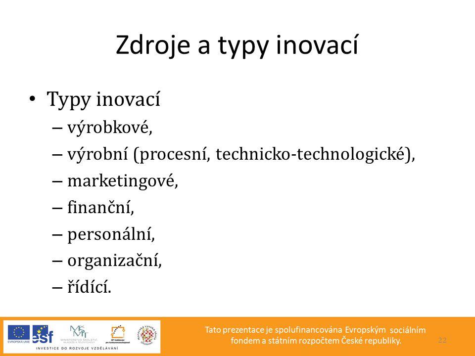 Zdroje a typy inovací Typy inovací výrobkové,