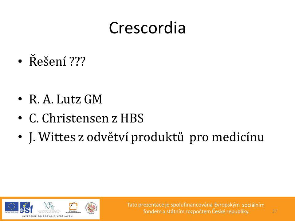 Crescordia Řešení R. A. Lutz GM C. Christensen z HBS