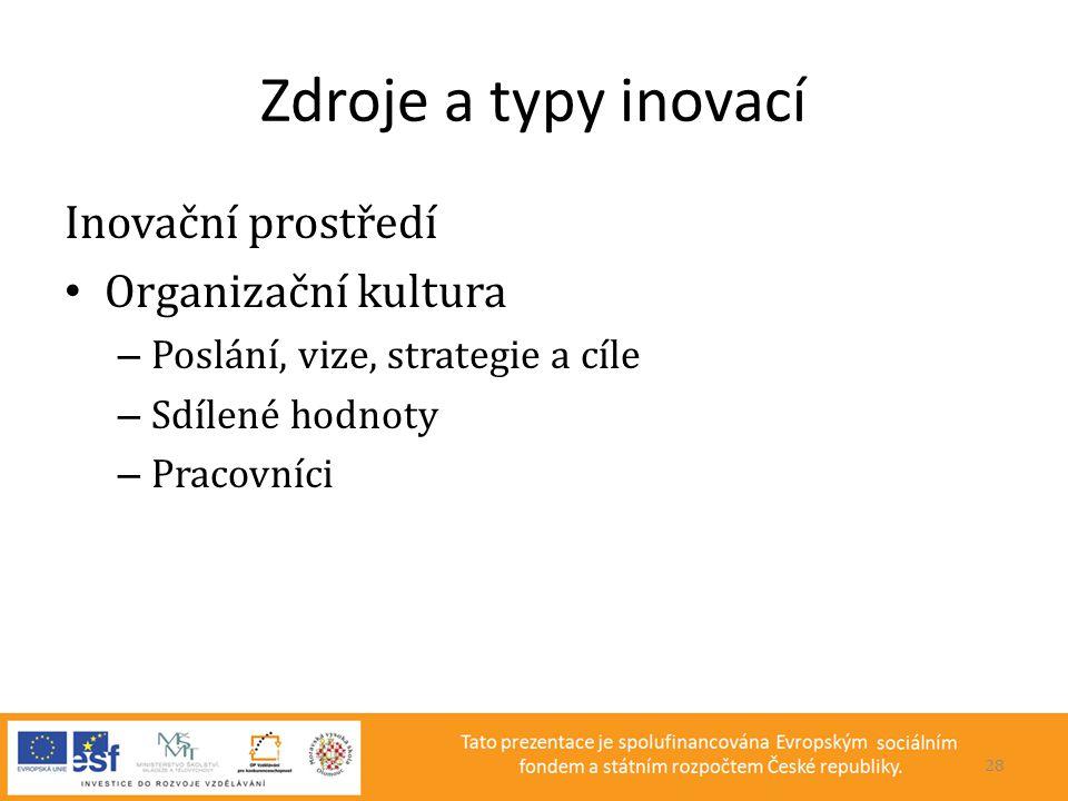 Zdroje a typy inovací Inovační prostředí Organizační kultura