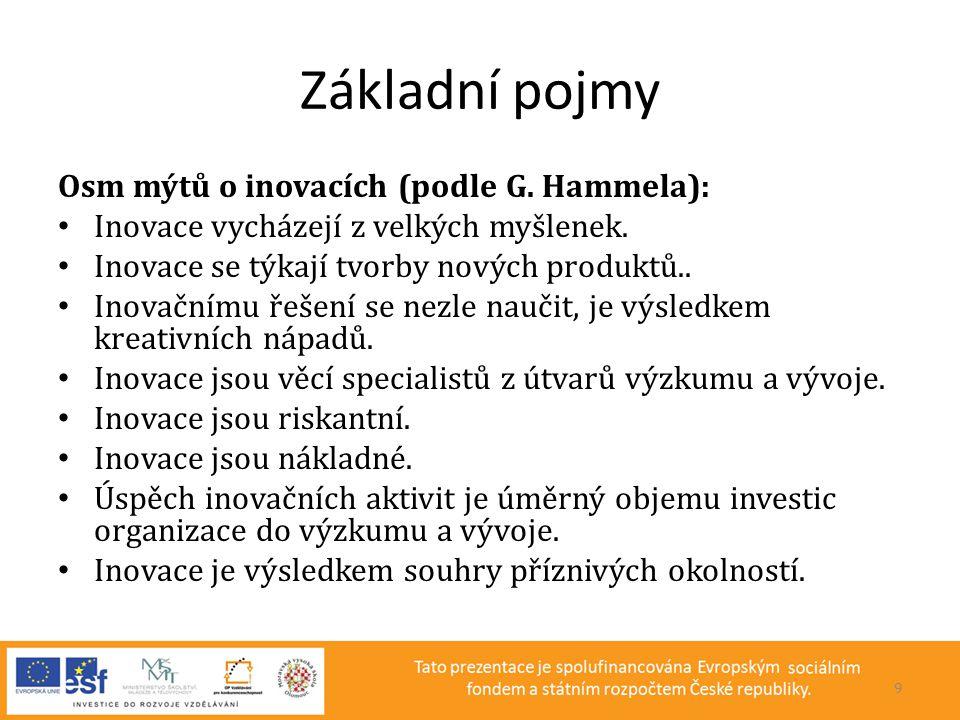Základní pojmy Osm mýtů o inovacích (podle G. Hammela):