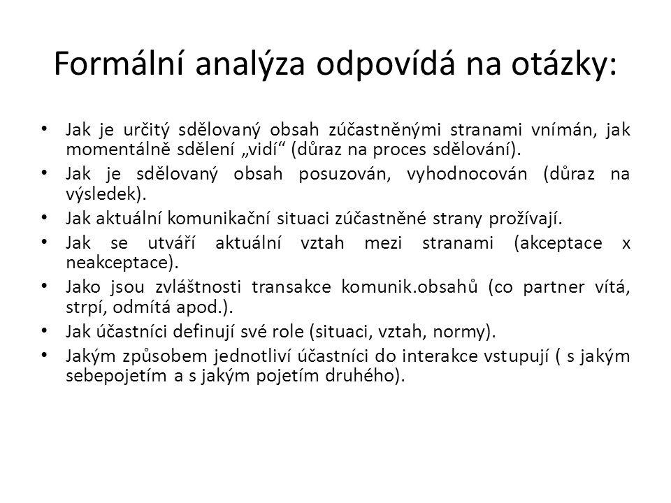 Formální analýza odpovídá na otázky: