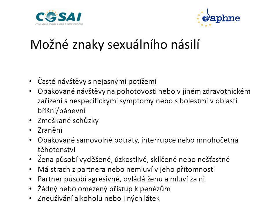 Možné znaky sexuálního násilí