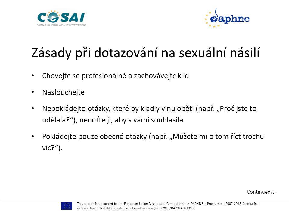 Zásady při dotazování na sexuální násilí