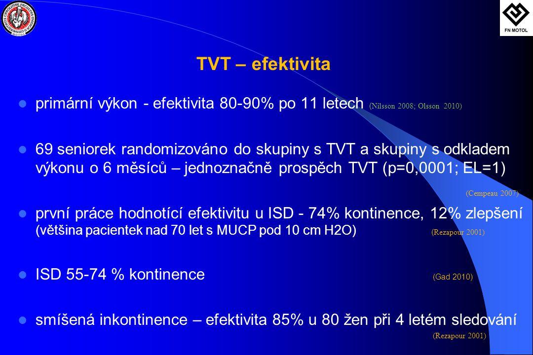 TVT – efektivita primární výkon - efektivita 80-90% po 11 letech (Nilsson 2008; Olsson 2010)