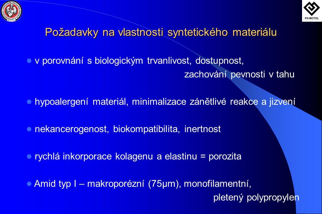 Požadavky na vlastnosti syntetického materiálu