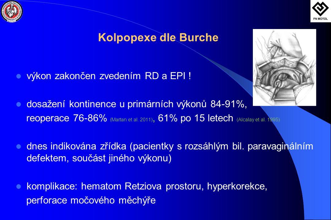 Kolpopexe dle Burche výkon zakončen zvedením RD a EPI !
