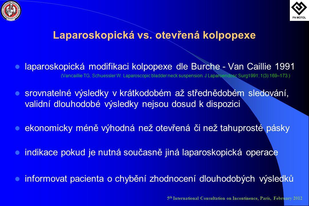 Laparoskopická vs. otevřená kolpopexe