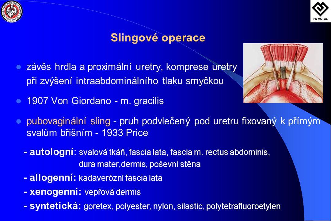 Slingové operace závěs hrdla a proximální uretry, komprese uretry