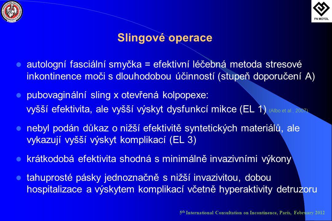Slingové operace autologní fasciální smyčka = efektivní léčebná metoda stresové inkontinence moči s dlouhodobou účinností (stupeň doporučení A)