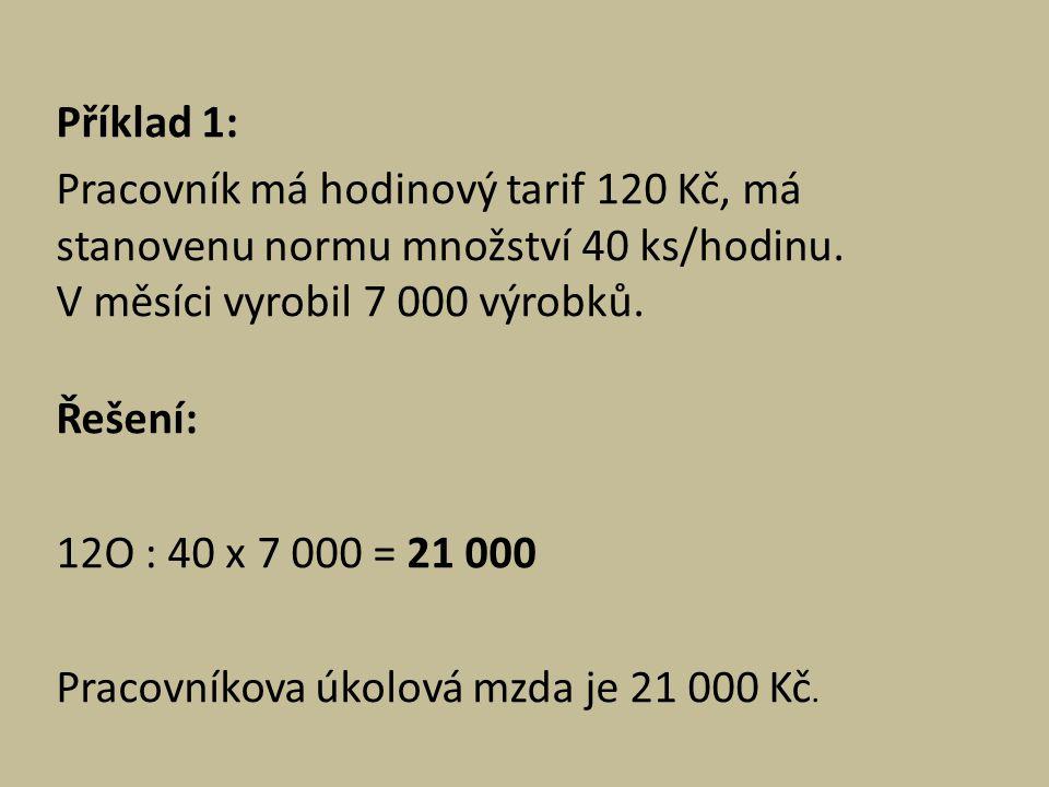Příklad 1: Pracovník má hodinový tarif 120 Kč, má stanovenu normu množství 40 ks/hodinu.