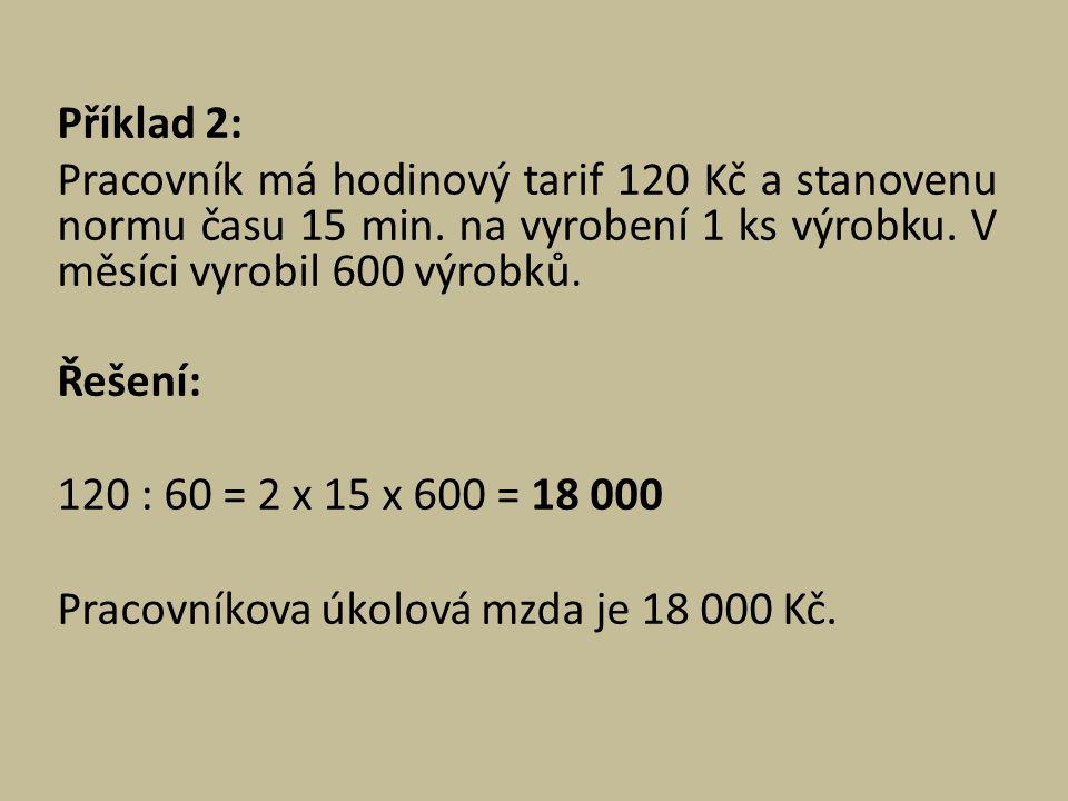 Příklad 2: Pracovník má hodinový tarif 120 Kč a stanovenu normu času 15 min.