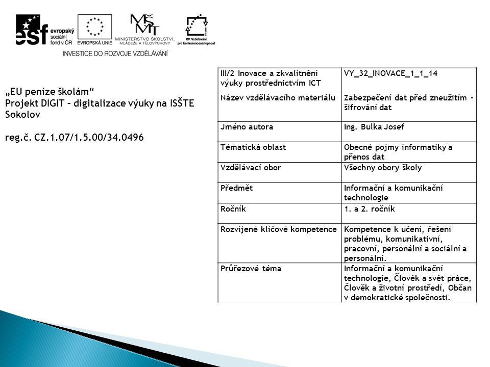 Projekt DIGIT – digitalizace výuky na ISŠTE Sokolov