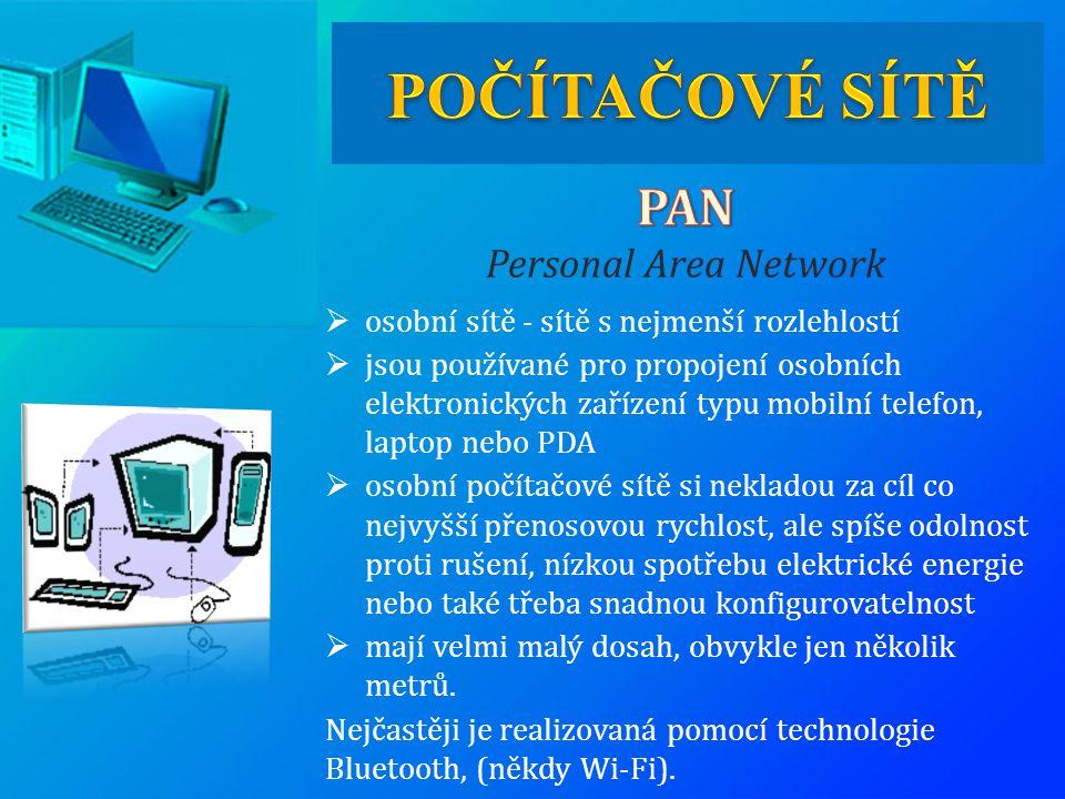 POČÍTAČOVÉ SÍTĚ PAN Personal Area Network