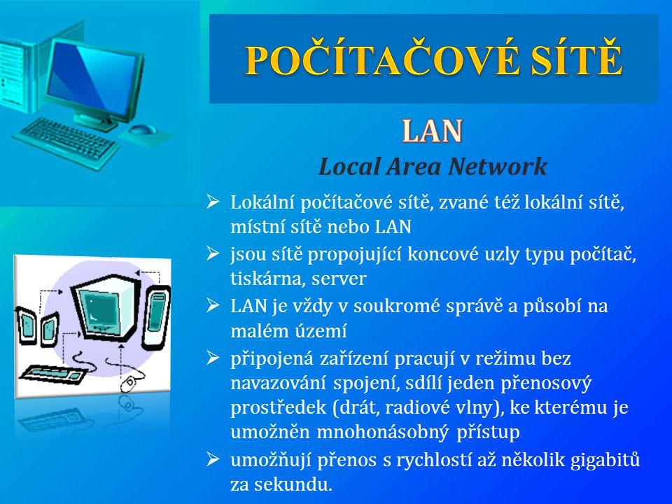 POČÍTAČOVÉ SÍTĚ LAN Local Area Network