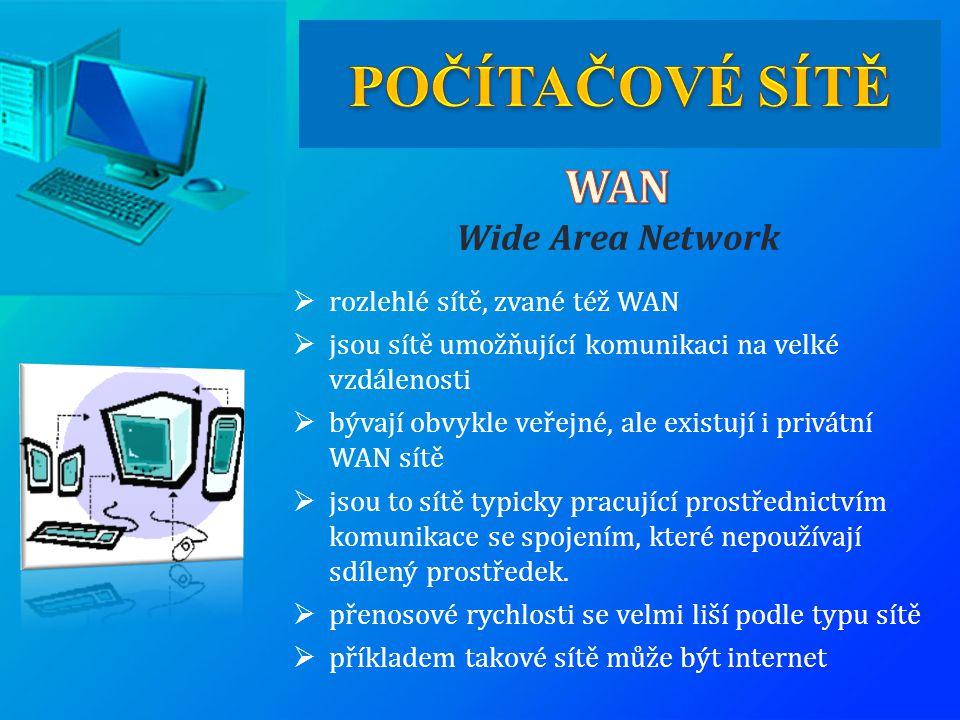 POČÍTAČOVÉ SÍTĚ WAN Wide Area Network rozlehlé sítě, zvané též WAN