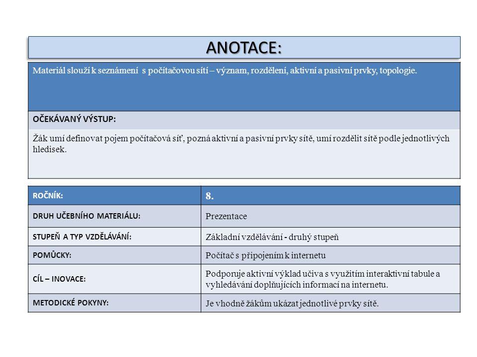 ANOTACE: Materiál slouží k seznámení s počítačovou sítí – význam, rozdělení, aktivní a pasivní prvky, topologie.