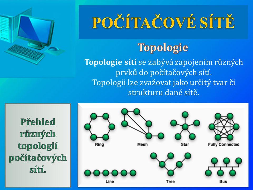 Přehled různých topologií počítačových sítí.