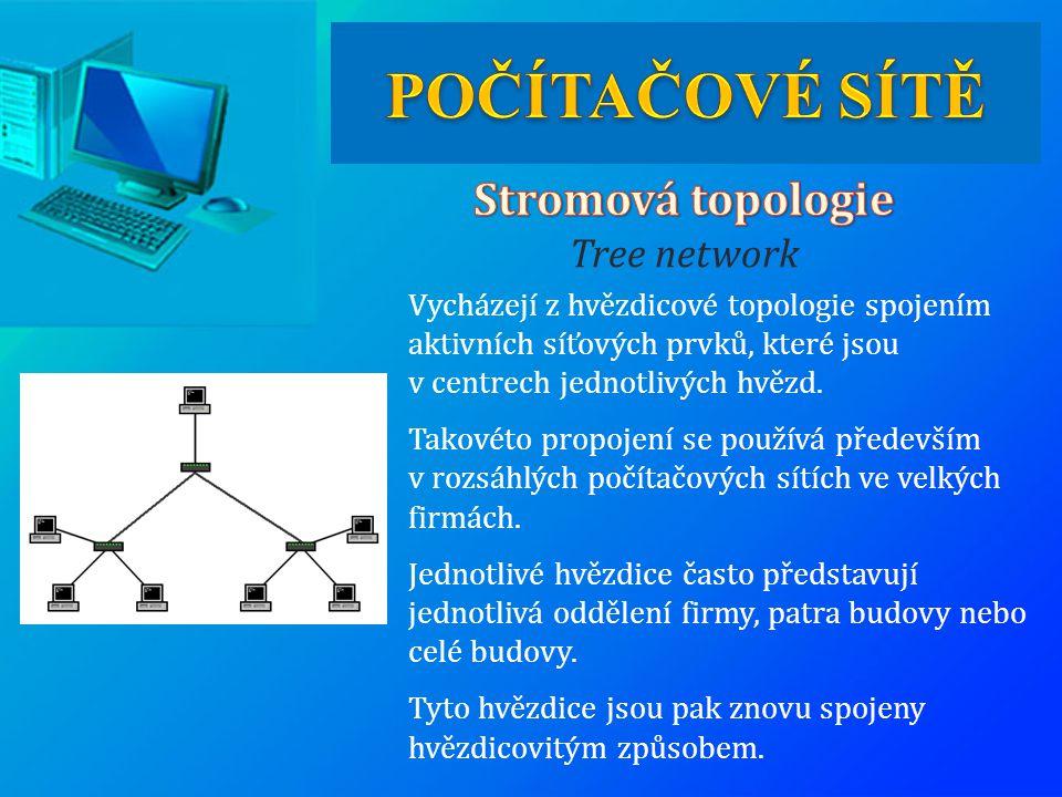 POČÍTAČOVÉ SÍTĚ Stromová topologie Tree network