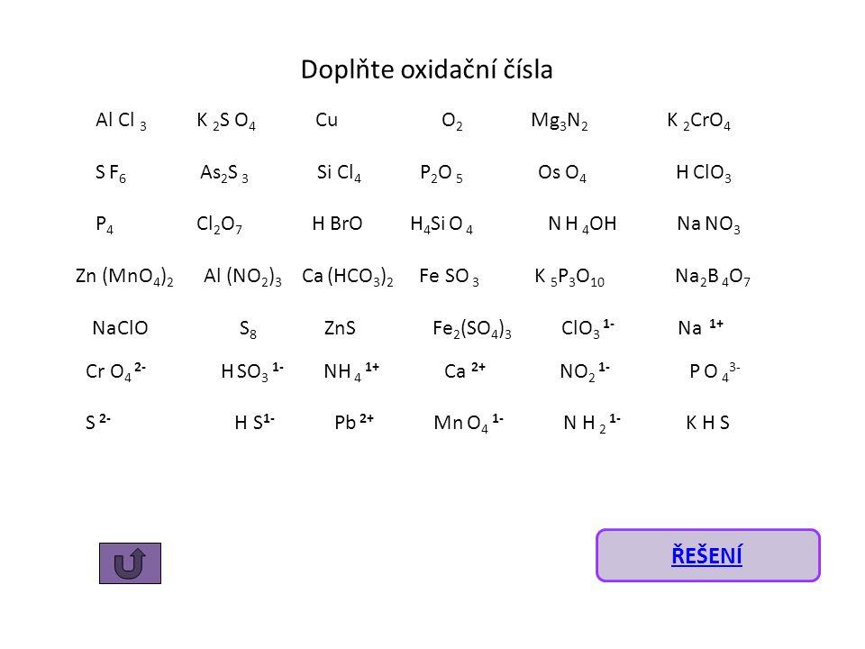 Doplňte oxidační čísla