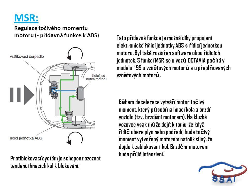 MSR: Regulace točivého momentu motoru (- přídavná funkce k ABS)