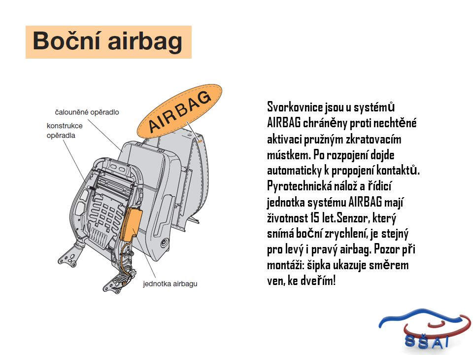 Svorkovnice jsou u systémů AIRBAG chráněny proti nechtěné aktivaci pružným zkratovacím mústkem.