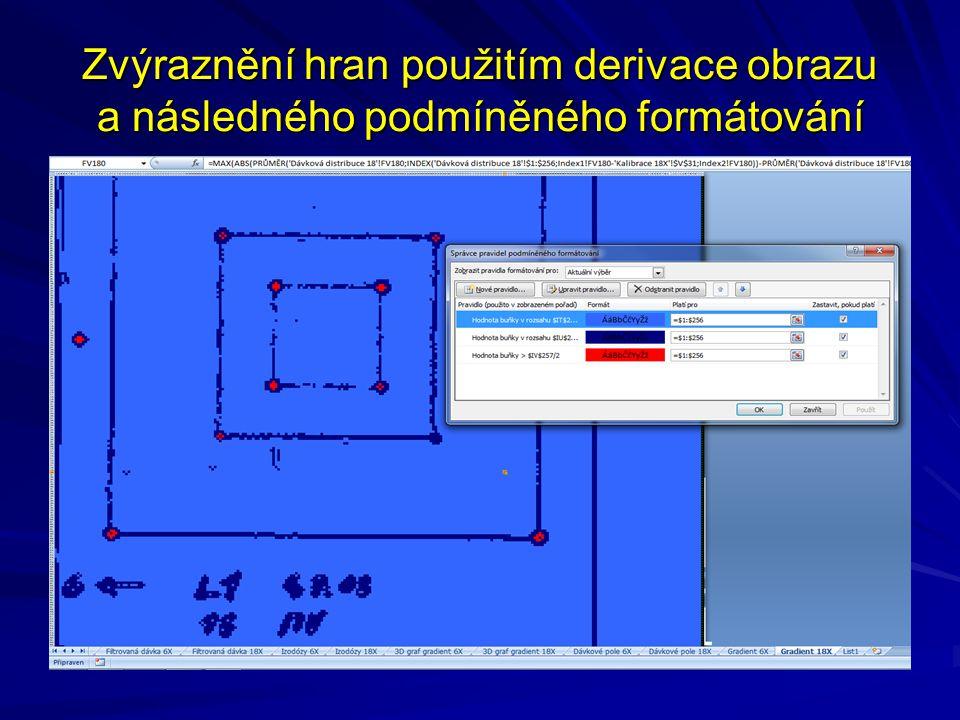 Zvýraznění hran použitím derivace obrazu a následného podmíněného formátování