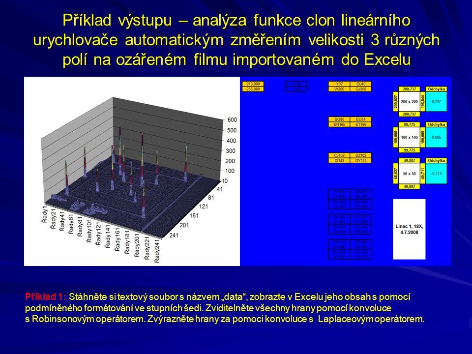 Příklad výstupu – analýza funkce clon lineárního urychlovače automatickým změřením velikosti 3 různých polí na ozářeném filmu importovaném do Excelu