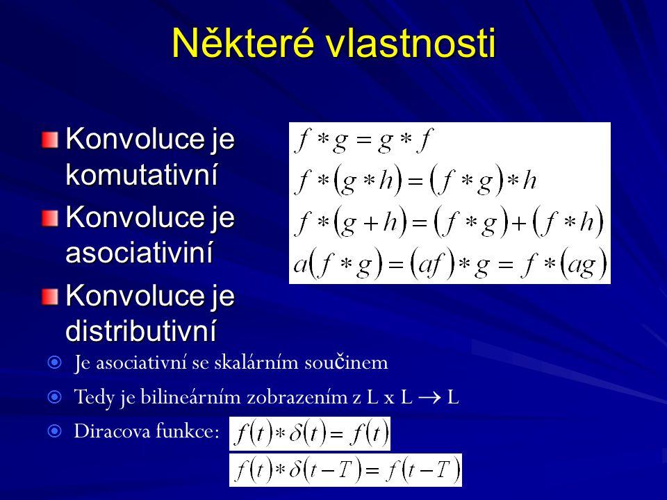 Některé vlastnosti Konvoluce je komutativní Konvoluce je asociativiní