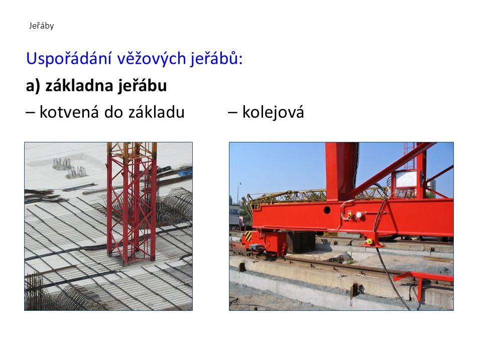 Jeřáby Uspořádání věžových jeřábů: a) základna jeřábu – kotvená do základu – kolejová
