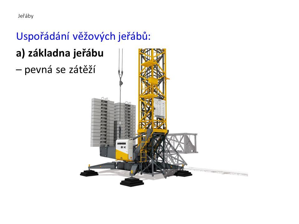 Uspořádání věžových jeřábů: a) základna jeřábu – pevná se zátěží