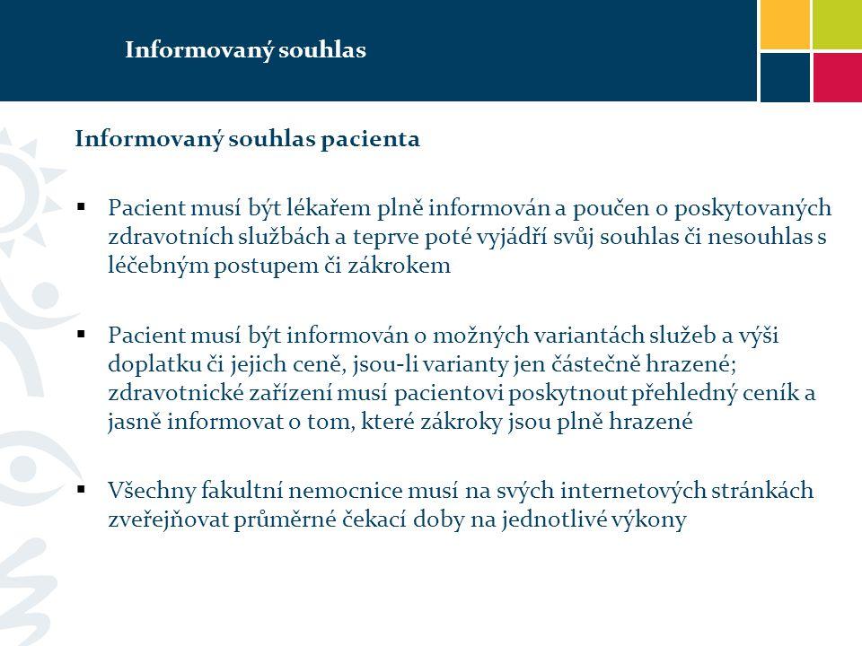 Informovaný souhlas Informovaný souhlas pacienta.
