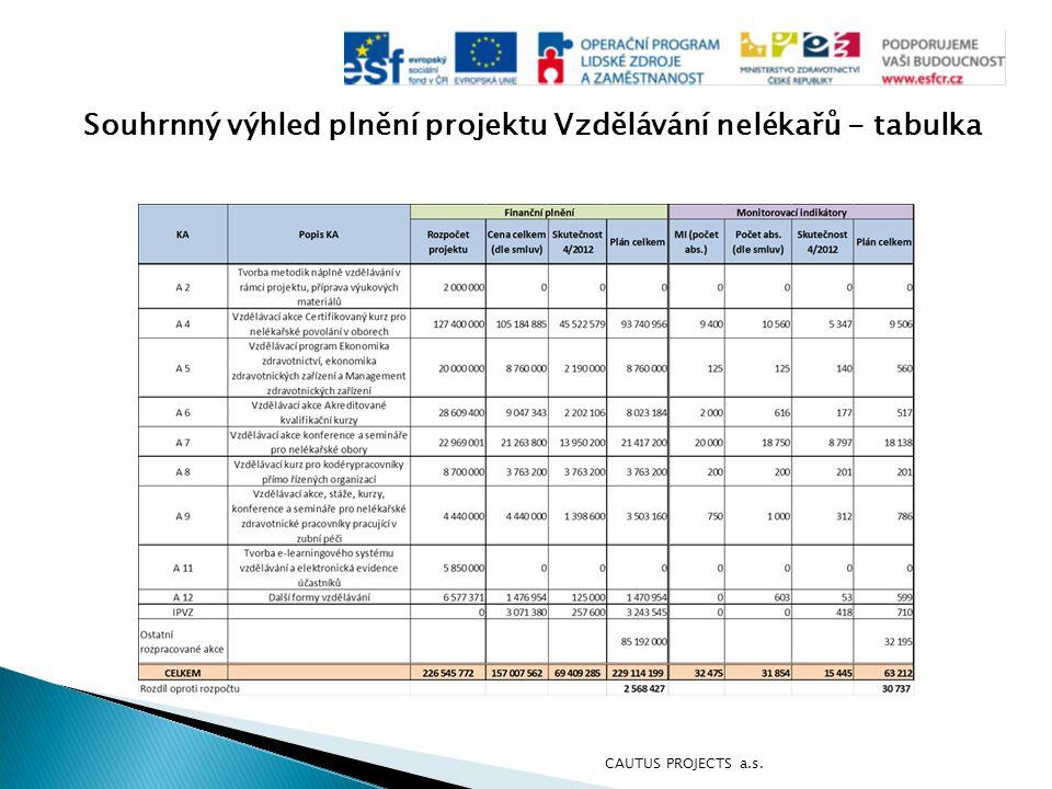 Souhrnný výhled plnění projektu Vzdělávání nelékařů - tabulka