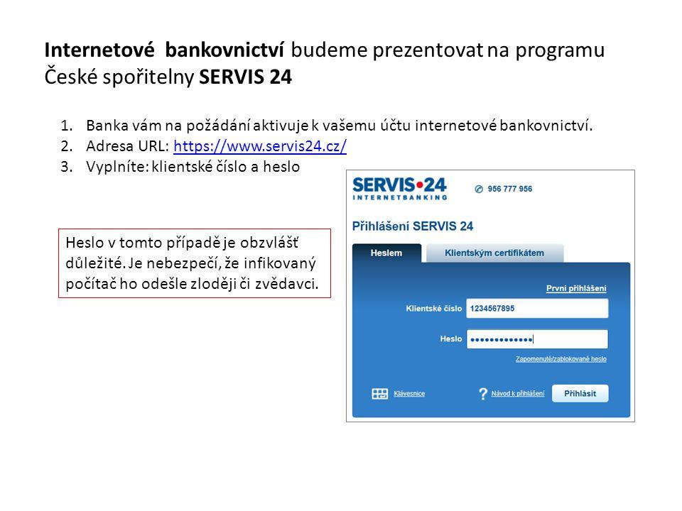 Internetové bankovnictví budeme prezentovat na programu České spořitelny SERVIS 24