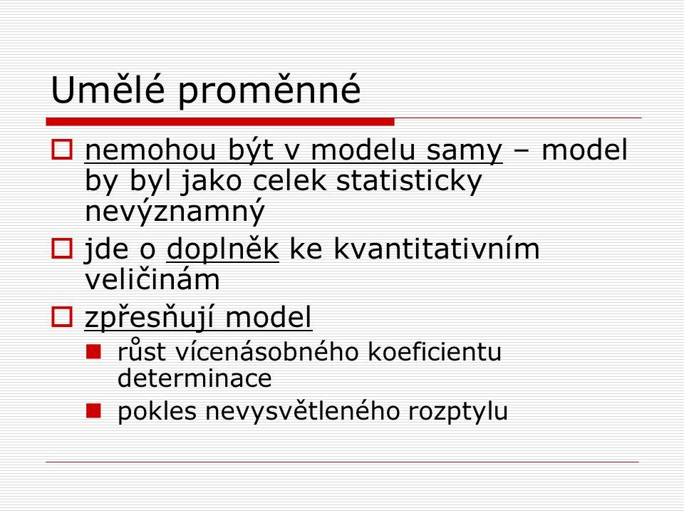 Umělé proměnné nemohou být v modelu samy – model by byl jako celek statisticky nevýznamný. jde o doplněk ke kvantitativním veličinám.