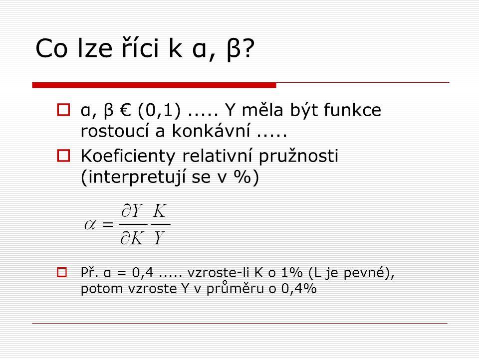 Co lze říci k α, β α, β € (0,1) ..... Y měla být funkce rostoucí a konkávní ..... Koeficienty relativní pružnosti (interpretují se v %)