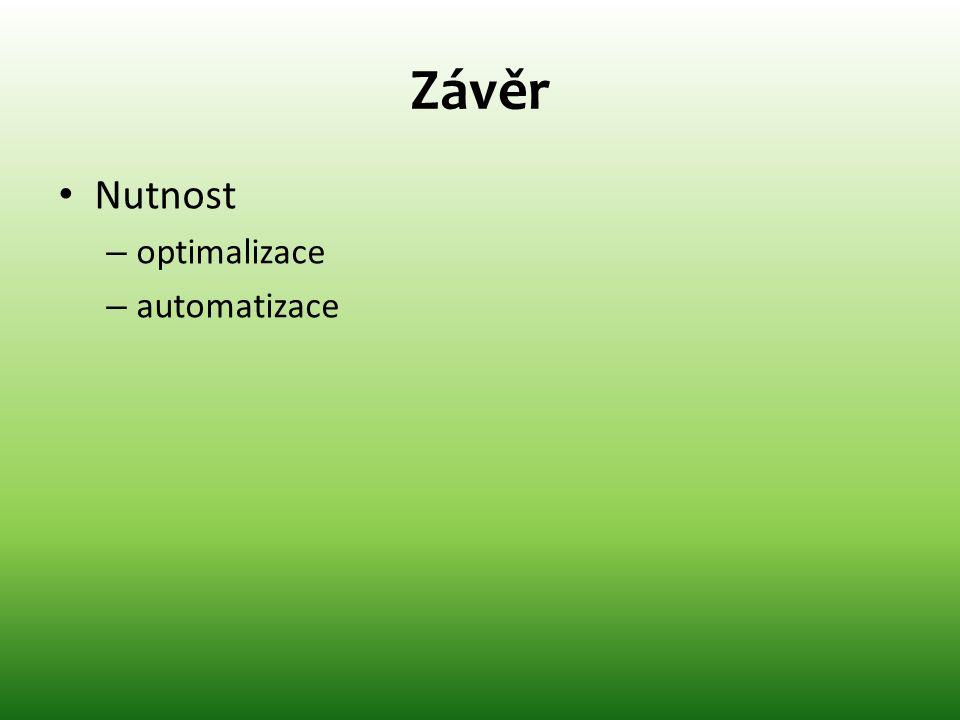 Závěr Nutnost optimalizace automatizace