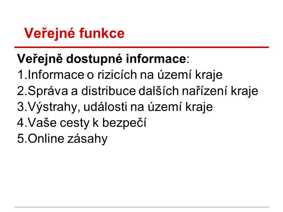 Veřejné funkce Veřejně dostupné informace: