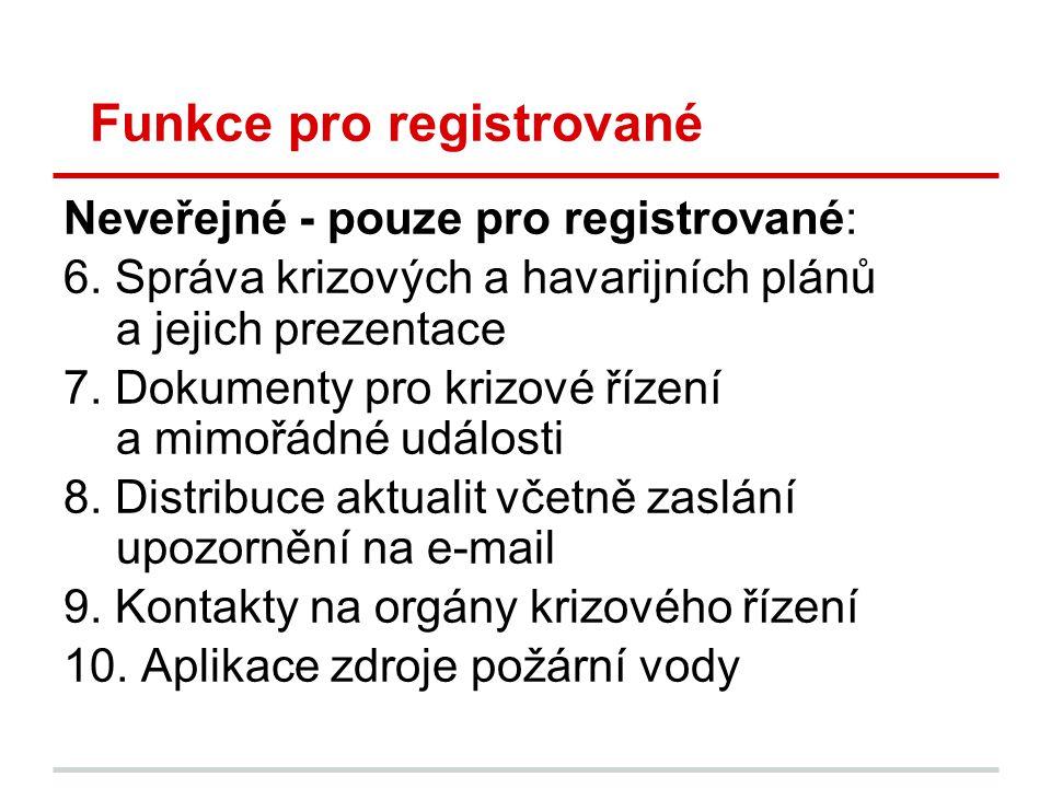 Funkce pro registrované