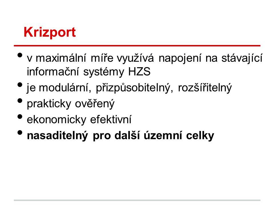 Krizport v maximální míře využívá napojení na stávající informační systémy HZS. je modulární, přizpůsobitelný, rozšířitelný.