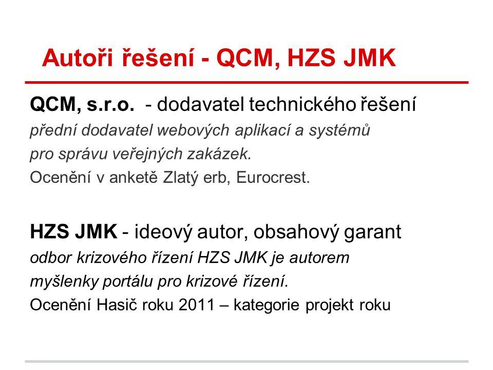 Autoři řešení - QCM, HZS JMK