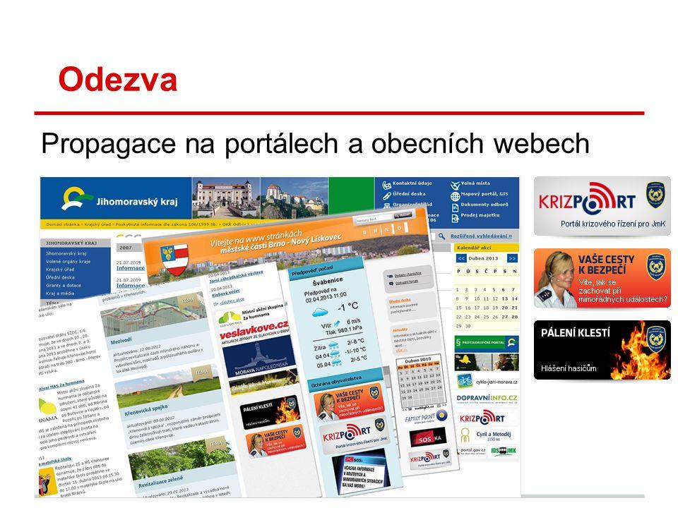 Odezva Propagace na portálech a obecních webech PA