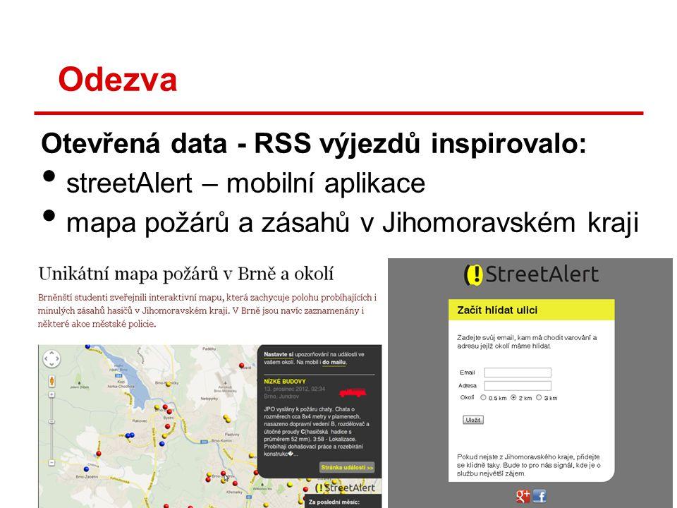 Odezva Otevřená data - RSS výjezdů inspirovalo: