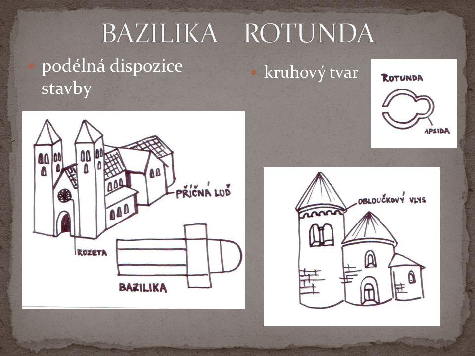 BAZILIKA ROTUNDA podélná dispozice stavby kruhový tvar naskenovat