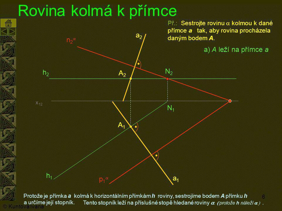 Rovina kolmá k přímce a2 n2a a) A leží na přímce a N2 h2 A2 N1 A1 h1