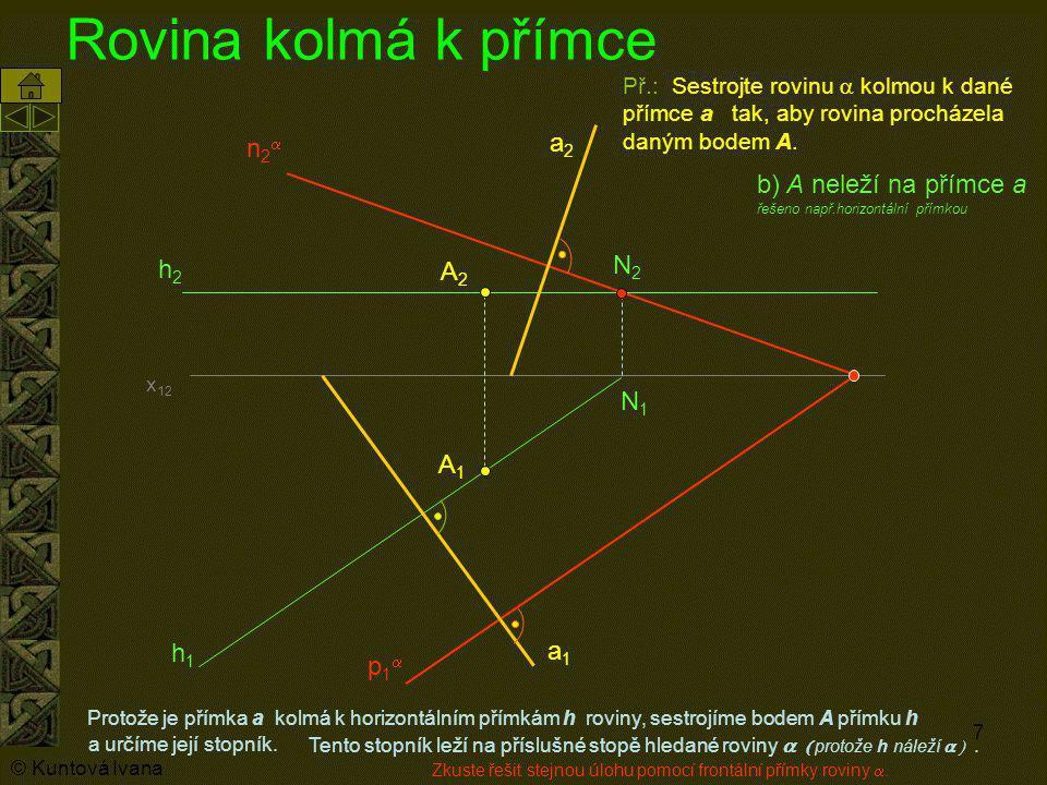 Rovina kolmá k přímce a2 n2a b) A neleží na přímce a N2 h2 A2 N1 A1 h1