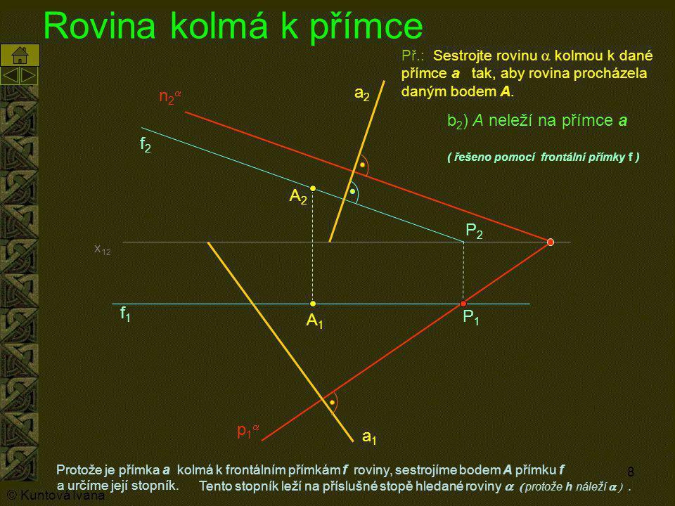 Rovina kolmá k přímce a2 n2a b2) A neleží na přímce a